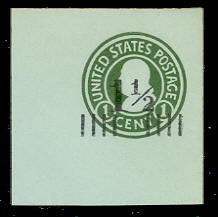 U498b 1 1/2c on 1c Green on Blue, die 3, Mint Full Corner