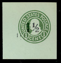 U498b 1 1/2c on 1c Green on Blue, die 3, Mint Cut Square