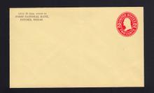 U412d UPSS# 1829-15 2c Carmine on Amber, die 5, Mint Entire, Printed Back