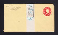 U412d UPSS# 1827c-15 2c Carmine on Amber, die 5, Mint Entire, Mis-Fold