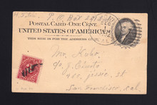 UX15 UPSS# S19 1c w/2c Postage Due Stamp for Return Address on Front
