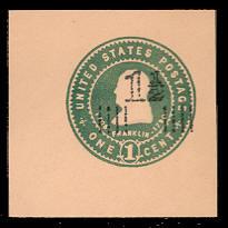 U509b 1 1/2c on 1c Green on Oriental Buff, Mint Cut Square