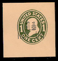 U512 1 1/2c on 1c Green on Oriental Buff, die 1, Mint Cut Square