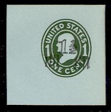 U513 1 1/2c on 1c Green on Blue, die 1, Mint Full Corner