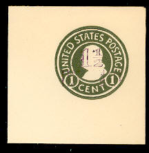 U521 1 1/2c on 1c Green on White, Mint Full Corner
