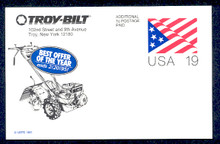 UX153 UPSS# S166 19c Stylized Flag Unused Postal Card, Troy-Bilt Revalue, Tiller