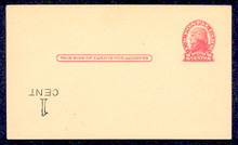UX33f UPSS# S45-44f, Washington Inverted Surcharge, Mint Postal Card