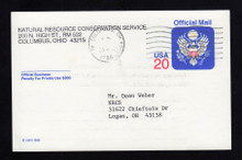 UZ6 UPSS# O6 20c Official Mail, multicolored Used Postal Card