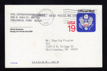UZ5 UPSS# O5 19c Official Mail, multicolored Used Postal Card
