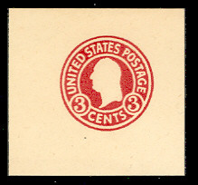 U436h 3c Carmine (error) on White, die 5, Mint Full Corner, 47 x 47