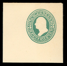 U163 3c Green on White, die 2, Mint Full Corner, 50 x 50