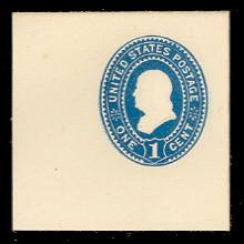 U294 1c Blue on White, Mint Full Corner