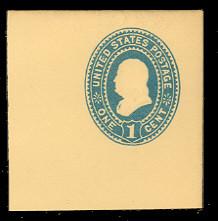 U296 1c Blue on Amber, Mint Full Corner, 50 x 50
