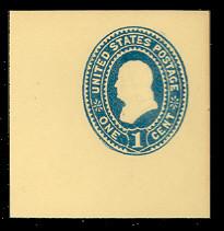U296 1c Blue on Amber, Mint Cut Square, 47 x 47