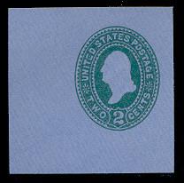 U314 2c Green on Blue, die 2, Mint Cut Square
