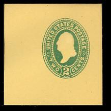 U317 2c Green on Amber Manila, die 2, Mint Full Corner