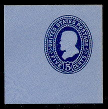 U333 5c Blue on Blue, die 1, Mint Full Corner, 50 x 50