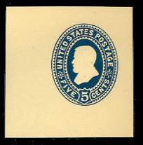 U335 5c Blue on Amber, die 2, Mint Cut Square, 47 x 47