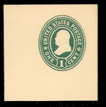 U352 1c Green on White, Mint Full Corner