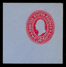 U361 2c Carmine on Blue, die 1, Mint Full Corner, 50 x 50