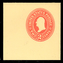 U363 2c Carmine on Amber, die 2, Mint Full Corner