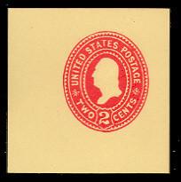 U363 2c Carmine on Amber, die 2, Mint Cut Square