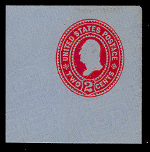 U365 2c Carmine on Blue, die 2, Mint Full Corner
