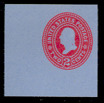 U365 2c Carmine on Blue, die 2, Mint Cut Square