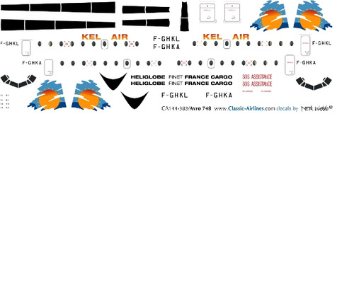 1/144 Scale Decal Kel Air HS-748