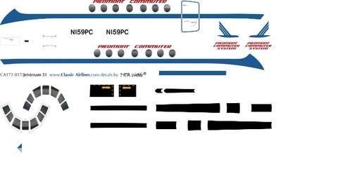 1/72 Scale Decal Piedmont Commuter Jetstream 31