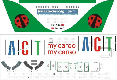 1/144 Scale Decal ACT Cargo A-300