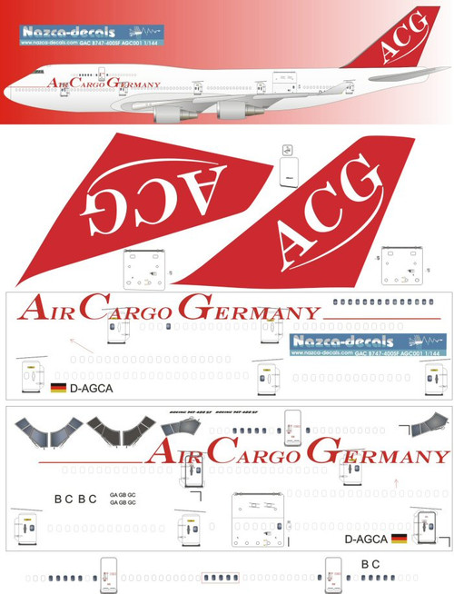 1/144 Scale Decal ACG - Air Cargo Germany 747