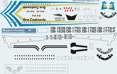 1/144 Scale Decal Aero Continente F-28