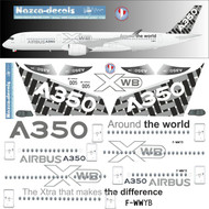 1/144 Scale Decal Airbus A-350 Factory Livery