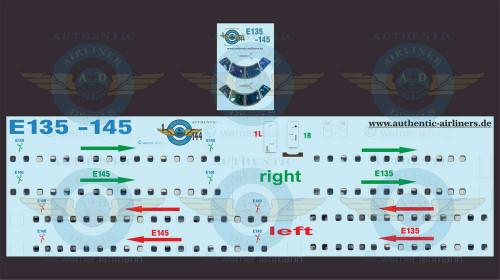 1/144 Scale Decal Lifelike Cockpit / Windows / Doors ERJ-135 / 145