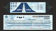 1/144 Scale Decal Jet Blue ERJ-190 DOTS With Lifelike Cockpit / Windows