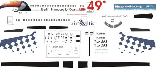 1/144 Scale Decal Air Baltic F-50 Tucan