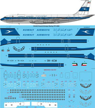 1/144 Scale Decal Kuwait Airways Boeing 707-369C
