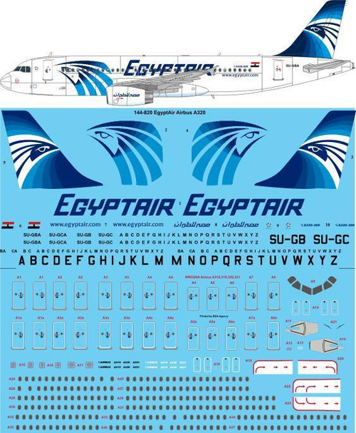 1/144 Scacle Decal Egypt Air Airbus A320-231