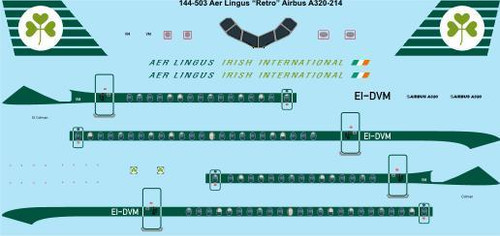 """1/144 Scale Decal Aer Lingus """"Retro"""" Airbus A320"""
