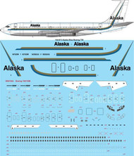 1/144 Scale Decal Alaska Blue Boeing 720