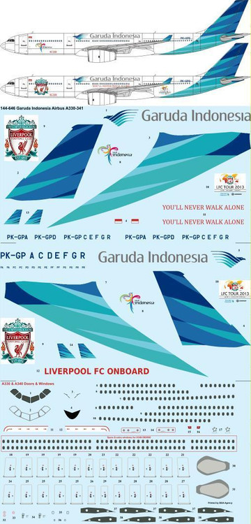 1/144 Scale Decal Garuda Indonesia Airbus A330-341