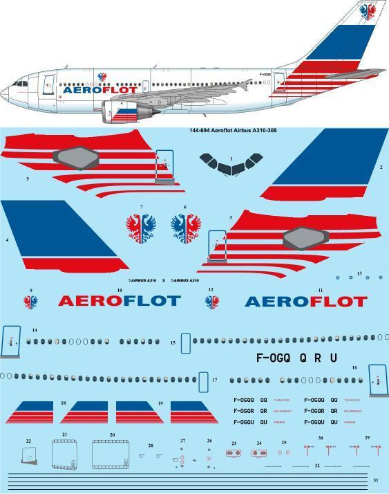 1/144 Scale Decal Aeroflot Delivery Airbus A310-308 laser decal