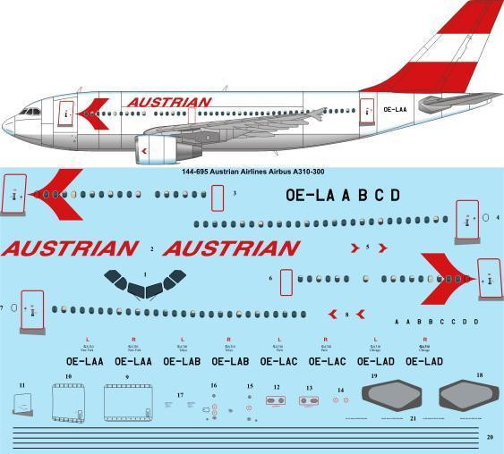 1/144 Scale Decal Austrian Airlines Airbus A310-300 laser decal
