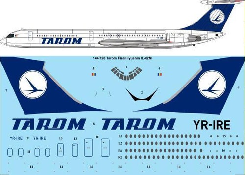1/144 Scale Decal Tarom Final Ilyushin IL-62M