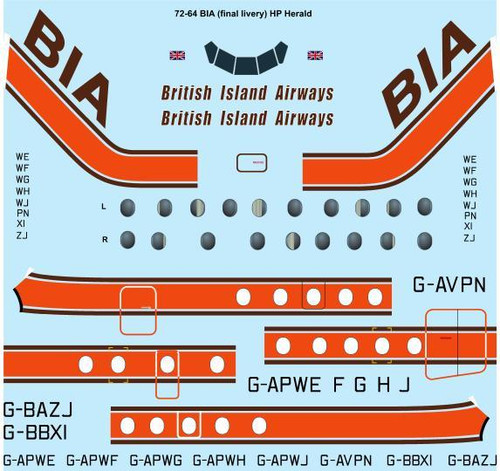 1/72 Scale Decal BIA British Island Airways HP Herald