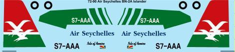 1/72 Scale Decal Air Seychelles Britten Norman Islander