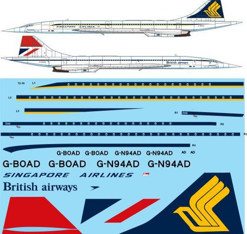 1/72 Scale Decal Singapore Airlines / British Airways BAC Concorde