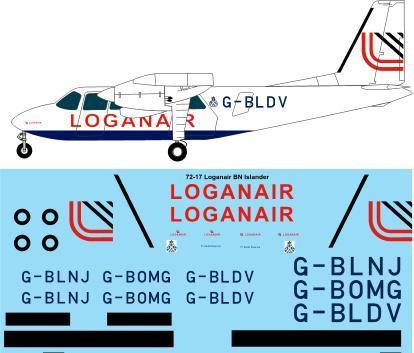 1/72 Scale Decal Loganair Britten Norman BN2A Islander
