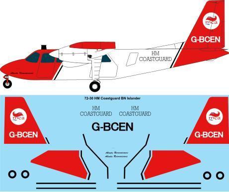 1/72 Scale Decal HM Coastguard Britten Norman BN2A Islander
